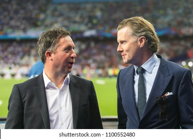KYIV, UKRAINE – 26 MAY, 2018: Robbie Fowler and Steve McManaman during the final match UEFA Champions League between Liverpool and Real Madrid at Olimpiyskiy National Sports Complex