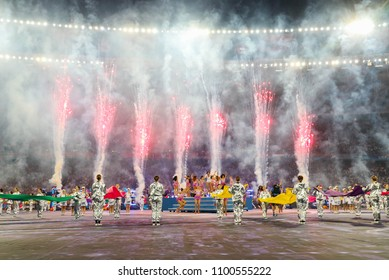 KYIV, UKRAINE – 26 MAY, 2018: English singer Dua Lipa during the final match UEFA Champions League between Liverpool and Real Madrid at Olimpiyskiy National Sports Complex