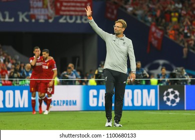 KYIV, UKRAINE – 26 MAY, 2018: German football manager Jurgen Klopp during the final match UEFA Champions League between Liverpool and Real Madrid at Olimpiyskiy National Sports Complex