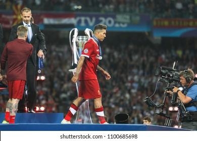 KYIV, UKRAINE – 26 MAY, 2018: Brazilian professional footballer Roberto Firmino during the final match UEFA Champions League between Liverpool and Real Madrid at Olimpiyskiy National Sports Complex