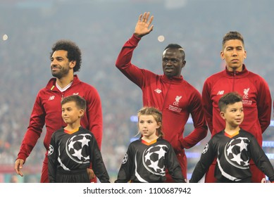 KYIV, UKRAINE – 26 MAY, 2018: Mohamed Salah, Sadio Mane and Roberto Firmino during the final match UEFA Champions League between Liverpool and Real Madrid at Olimpiyskiy National Sports Complex