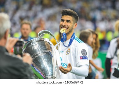 KYIV, UKRAINE – 26 MAY, 2018: Spanish professional footballer Marco Asensio during the final match UEFA Champions League between Liverpool and Real Madrid at Olimpiyskiy National Sports Complex.