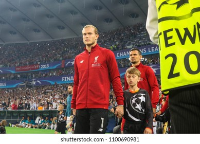 KYIV, UKRAINE – 26 MAY, 2018: German professional footballer Loris Karius during the final match UEFA Champions League between Liverpool and Real Madrid at Olimpiyskiy National Sports Complex