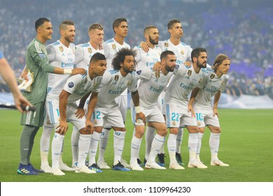 KYIV, UKRAINE – 26 MAY, 2018: Footballers Real Madrid during the final match UEFA Champions League between Liverpool and Real Madrid at Olimpiyskiy National Sports Complex