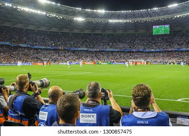 KYIV, UKRAINE – 26 MAY, 2018: Photographers work during the final match UEFA Champions League between Liverpool and Real Madrid at Olimpiyskiy National Sports Complex