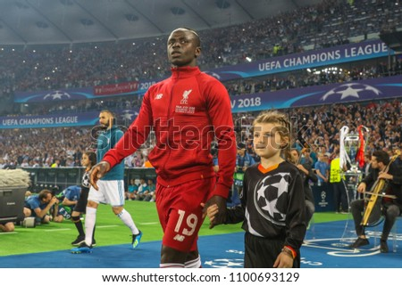 KYIV, UKRAINE – 26 MAY, 2018: Senegalese professional footballer Sadio Mane during the final match UEFA Champions League between Liverpool and Real Madrid at Olimpiyskiy National Sports Complex.