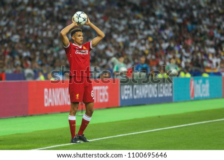 KYIV, UKRAINE – 26 MAY, 2018: Trent Alexander-Arnold during the final match UEFA Champions League between Liverpool and Real Madrid at Olimpiyskiy National Sports Complex