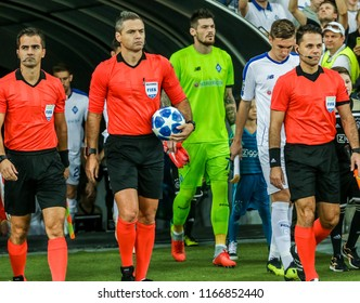 Kyiv, UKRAINE - 28 August, 2018: Damir Skomina and his assistants during the Qualifying UEFA Champions League match at NSC Olimpiyskiy
