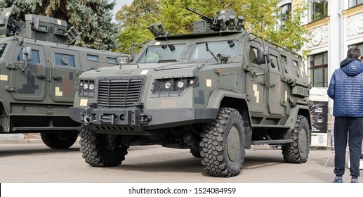 Kyiv, Ukraine - 6 october 2019 : Exhibition of modern military Ukrainian equipment during the war with Russia. Military equipment to protect the territories of Ukraine