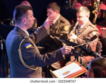 Kyiv, Ukraine - 8 February, 2018: Ukrainian power-metal band Sunrise accompanied by the Academic Orchestra of the Armed Forces of Ukraine in Bingo Club