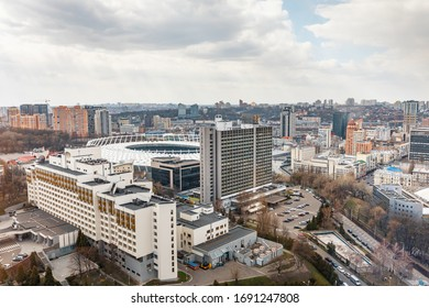 Kyiv, Ukraine - Apr. 01, 2020: Aerial view of the NSC Olympic Stadium in Kyiv, Ukraine. Beautiful landscape of Kyiv city center. View from Parus Business Centre building