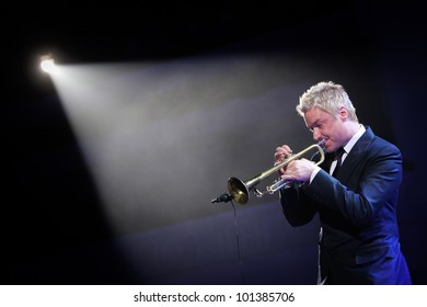 KYIV, UKRAINE - APR 03: Trumpeter Chris Botti during his solo concert on April 03, 2012 in Kyiv, Ukraine