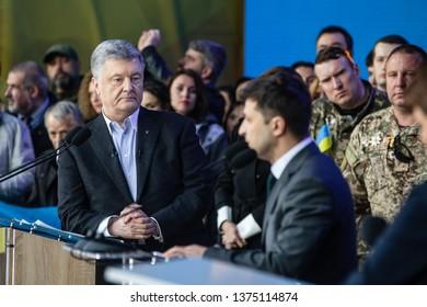 KYIV, UKRAINE - Apr 19, 2019: Pre-election debate at NSC Olimpiyskyi. President of Ukraine Petro Poroshenko during the debate with presidential candidate Volodymyr Zelensky at NSC Olimpiyskyi