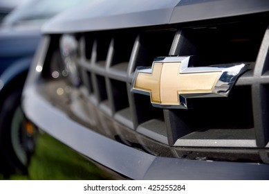 Kyiv, Ukraine - Apr 23, 2016: The logo of Chevrolet close up. Chevrolet is a trademark of General Motors (GM).
