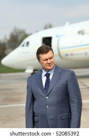 "KYIV, UKRAINE - APR 28: Ukrainian President Viktor Yanukovych to ""Antonov"" ASTC during the presentation of the new the Antonov An-158 is a regional jet aircraft on April 28, 2010 in Kyiv, Ukraine."