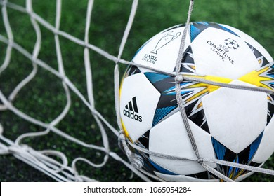 KYIV, UKRAINE — APRIL 05, 2018: Official match ball of UEFA Champions League season 2017/18 Final Kyiv Adidas Finale 18 Kiev Top training on the grass before the game. Football is popular in Ukraine