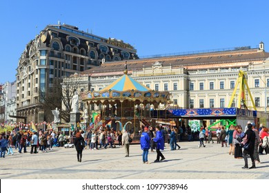 Kyiv, Ukraine - April 09, 2018: Carousel on Mikhailovskaya Square in Kiev, Ukraine
