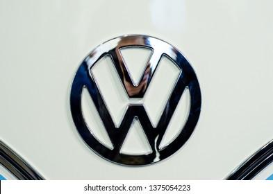 Kyiv, Ukraine - April 12, 2019: Close-up of Volkswagen Logo