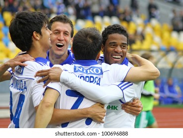KYIV, UKRAINE - APRIL 14: FC Dynamo Kyiv players celebrate after scored a goal against Vorskla Poltava during their Ukraine Championship game on April 14, 2012 in Kyiv, Ukraine