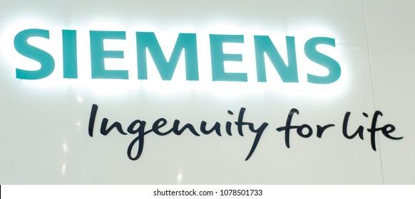 Kyiv, Ukraine - April 19, 2018: Siemens signboard on the wall.