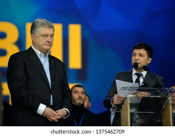 KYIV, UKRAINE- April 19, 2019: Ukraine's President and presidential candidate Petro Poroshenko, left, and Ukrainian presidential candidate Volodymyr Zelensky during their debate at Olympiysky Stadium