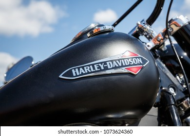 Kyiv, Ukraine,  - April 20, 2018: Logo of Harley Davidson motorcycles on a black fuel tank of Harley Davidson bike.