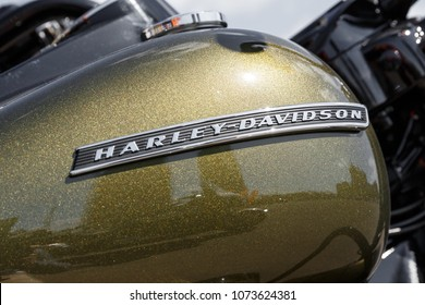 Kyiv, Ukraine,  - April 20, 2018: Logo of Harley Davidson motorcycles on a green fuel tank of Harley Davidson bike.