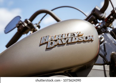 Kyiv, Ukraine,  - April 20, 2018: Logo of Harley Davidson motorcycles on a beige fuel tank of Harley Davidson bike.
