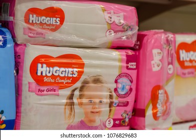 Kyiv, Ukraine - April 20, 2018: Huggies diaper pack for sale in the store.