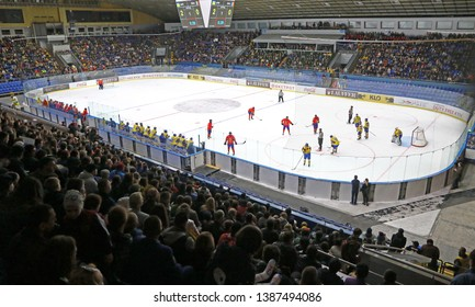KYIV, UKRAINE - APRIL 20, 2018: Panoramic view of Palace of Sports in Kyiv during the IIHF 2018 Ice Hockey U18 World Championship Div 1B game Ukraine v Romania. Ukraine won 6-0