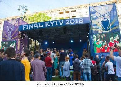 Kyiv, Ukraine. April 2018 : UEFA Champions League cup (man, woman) presentation before Champions League final in Kyiv Ukraine
