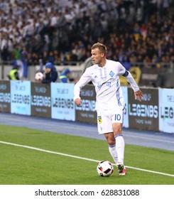 KYIV, UKRAINE - APRIL 21, 2017: Striker Andriy Yarmolenko of Dynamo Kyiv in action during the Ukrainian Premier League game against Shakhtar Donetsk at NSC Olimpiyskyi stadium in Kyiv, Ukraine
