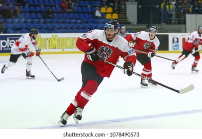 KYIV, UKRAINE - APRIL 24, 2017: Martin ULMER of Austria in action during IIHF 2017 Ice Hockey World Championship Div 1 Group A game against Hungary at Palace of Sports in Kyiv