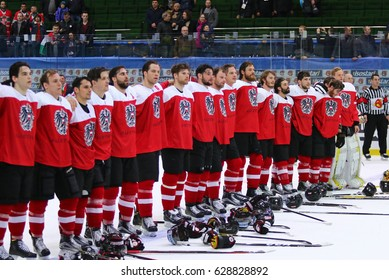 KYIV, UKRAINE - APRIL 24, 2017: Team of Austria, the winner of the game against Hungary during IIHF 2017 Ice Hockey World Championship Div 1 Group A. Palace of Sports in Kyiv, Ukraine. Austria won 3-1
