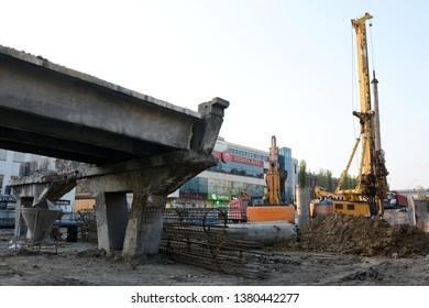 KYIV, UKRAINE - APRIL 24, 2019: Shulyavsky bridge in Kiev since March 16, 2019 is under reconstruction. The preparation for the reconstruction of the bridge on Shuliavka begins