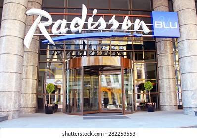 KYIV, UKRAINE - APRIL 26, 2015: Radisson Blu Hotel Kyiv Podil is located in the historic district of the city - Podil, one of the busiest tourist centers of Kyiv. The hotel has 164 rooms