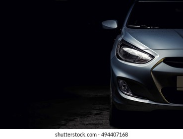 Kyiv, Ukraine - April 28th, 2016: Close-up of Hyundai car headlights