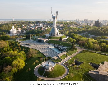 Kyiv, Ukraine - APRIL 29, 2018: The Motherland monument. Symbol of Kyiv (Kiev). The National Museum of the History of Ukraine in the Second World War. Kyiv skyline, cityscape.