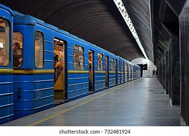 KYIV, UKRAINE - APRIL 30 - An old Soviet underground (subway) train standing at Palats Sportu station, Syretsko-Pecherska Line, Kiev Metro on April 30, 2017 in Kyiv (Kiev), Ukraine