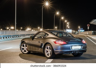 Kyiv, Ukraine - April 4th, 2014: Night photoshoot of Porsche Cayman near Boryspil Airport