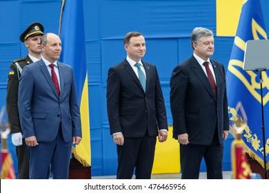 KYIV, UKRAINE - AUG 24, 2016: President of Ukraine Petro Poroshenko and President of Poland Andrzej Duda during military parade, dedicated to Independence Day of Ukraine on Maidan Nezalezhnosty