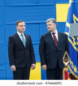 KYIV, UKRAINE - AUG 24, 2016: President of Ukraine Petro Poroshenko and President of Poland Andrzej Duda during military parade, dedicated to Independence Day of Ukraine on Maidan Nezalezhnosty