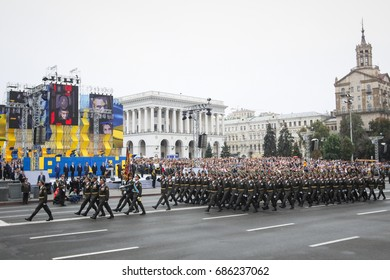 KYIV, UKRAINE - AUG 24, 2016: Soldiers during military parade, dedicated to Independence Day of Ukraine on Maidan Nezalezhnosty