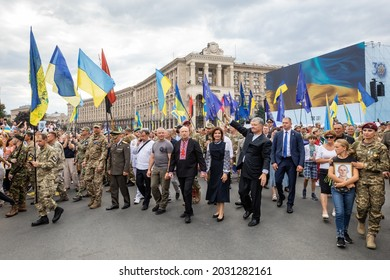 KYIV, UKRAINE - Aug 24, 2021: The fifth President of Ukraine Petro Poroshenko among the participants in the march of veterans during celebrating the 30th anniversary of Ukraine independence