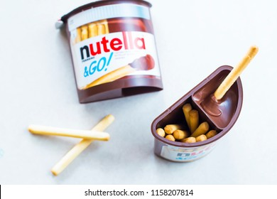 Kyiv, Ukraine - Aug 5th, 2018: Nutella & Go! Chocolate cream with Brot-Sticks.