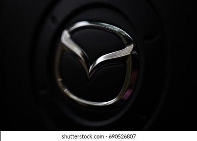 KYIV, UKRAINE - AUGUST 05, 2017: Logo of Mazda car August 05, 2017 in Kiev, Ukraine.
