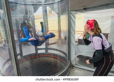 KYIV, UKRAINE - August 13, 2016. The wind tunnel. The simulator for parachutists.
