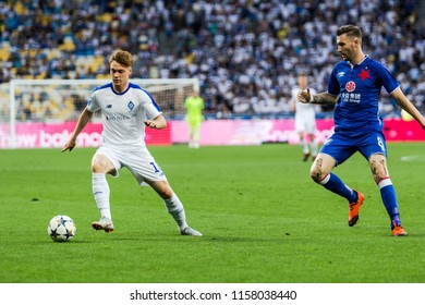 Kyiv, Ukraine - August 14, 2018: Viktor Tsygankov in action during UEFA Champions League match Dynamo Kyiv – Slavia Prague at NSC Olympic stadium in Kyiv, Ukraine.