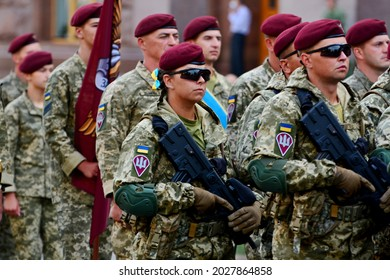 KYIV, UKRAINE - AUGUST 18, 2021: Ukrainian armed forces units participate in a rehearsal of military parade on occasion of the Independence Day at Khreschatyk Street in Kyiv