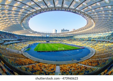 KYIV, UKRAINE - AUGUST  20, 2016: Panoramic view of Olympic stadium (NSC Olimpiysky) during Ukrainian Premier League game between FC Dynamo Kyiv and FC Volyn Lutsk
